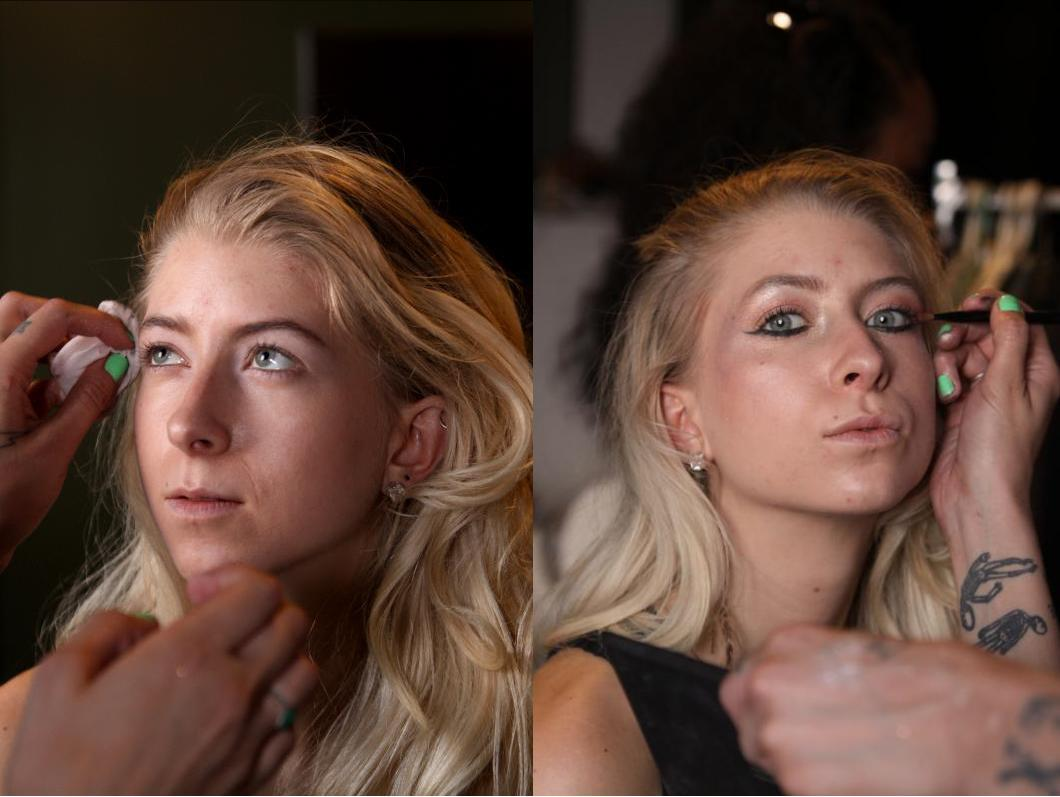 Model, before & after makeup