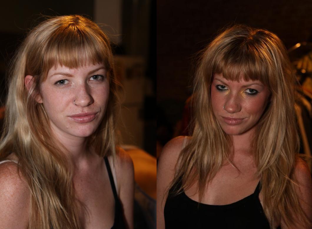 Model, before & after makeup