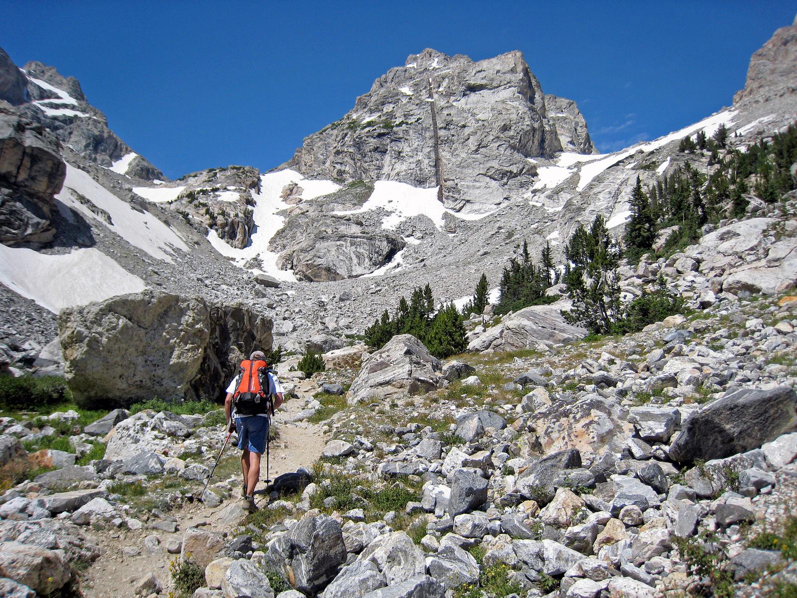 en route to climb the Grand Teton, Grand Teton National Park, Wyoming (Middle Teton in background)