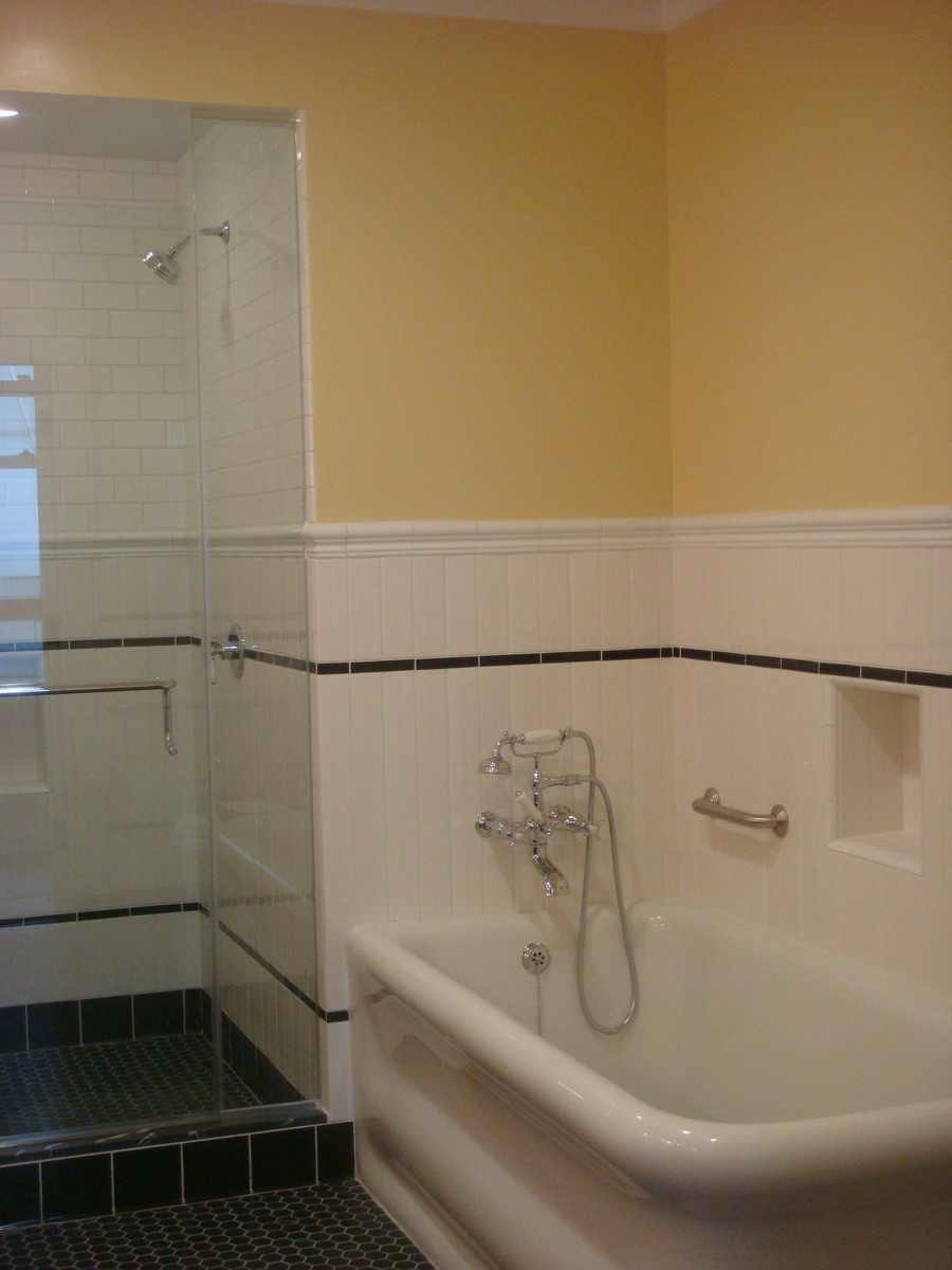 Construction Photograph Bathroom Shower and Tub
