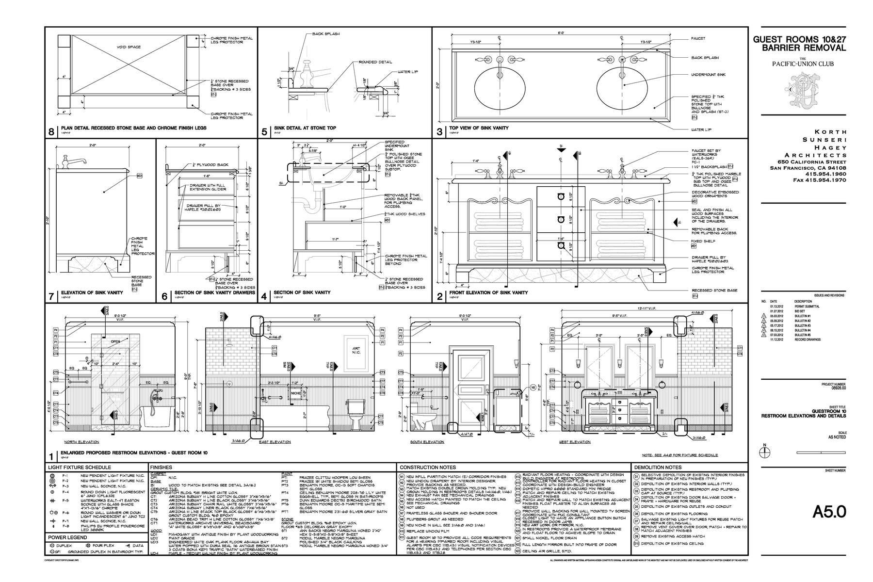 Construction Documents Enlarged Bathroom  Elevations and Details
