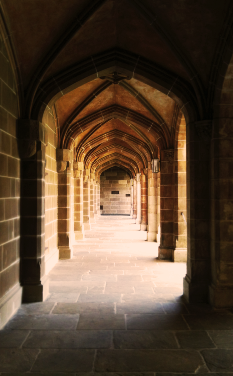 A portrait of an archway in the Old Quadrangle at the University of Melbourne, Parkville campus.